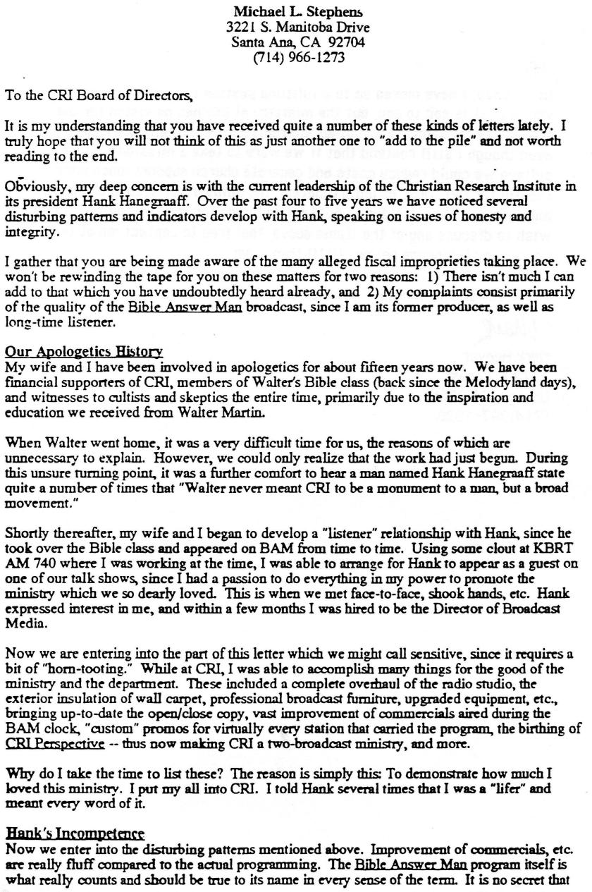 Mike Stephens Letter 1